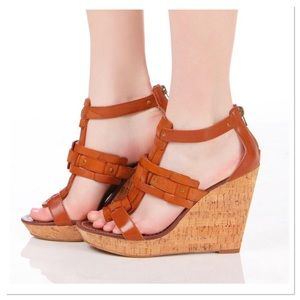 Dolce Vita cork wedge sandals leather ankle straps